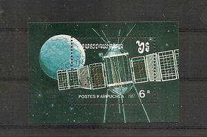 Kampuchea-1987-Weltraum-Journee-Raumfahrt-Sat-Einheiten-Block-Bogen-Gestempelt