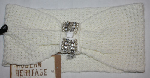 Modern Heritage Women/'s Faux Pearl /& Rhinestone Embellished Knit Hairband Sz OS*