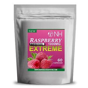 60 Raspberry Ketones Xtreme 1000mg Capsules Weight Loss Fat Burn