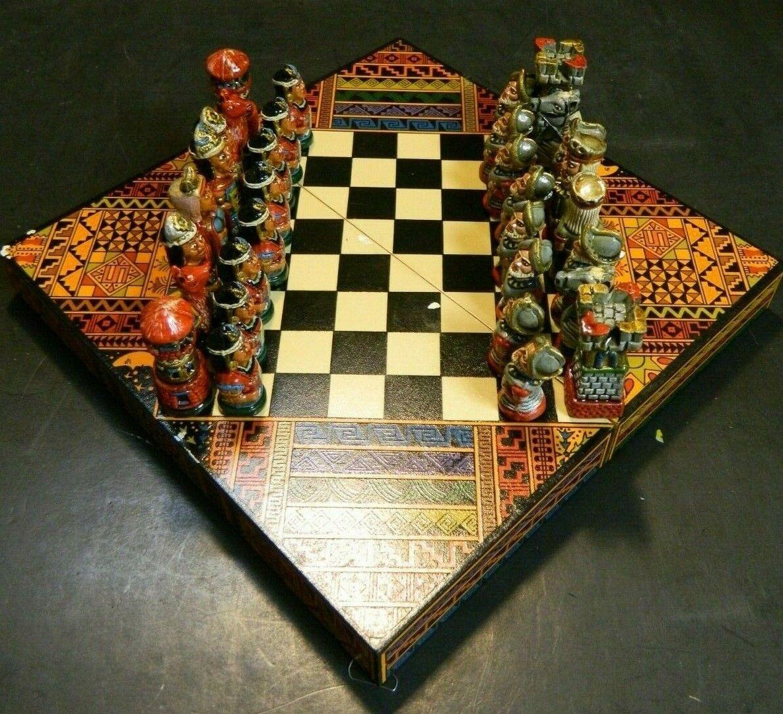 Hand Painted Conquistadors vs Aztecs Miniature Book Chess Set 1.88  King Excel