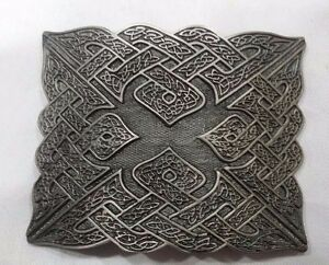 Men's Celtic Swirl Kilt Belt Buckle Silver Highland Kilt Buckle Antique Finish
