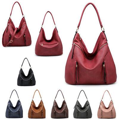 Ladies Faux Leather Two Tone Shoulder Bag Slouch Handbag Multi Day Bag M17663-1