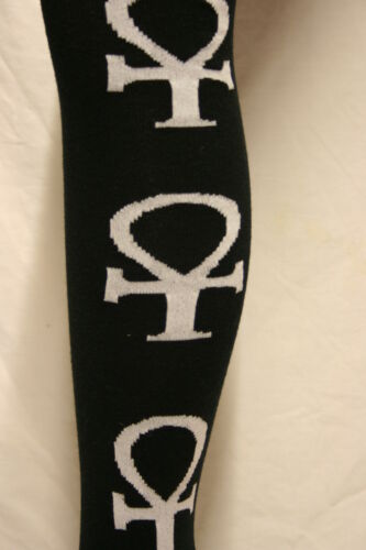 ANCH CROSS ON LONG BLACK OVER THE KNEE SOCKS IN RED OR WHITE
