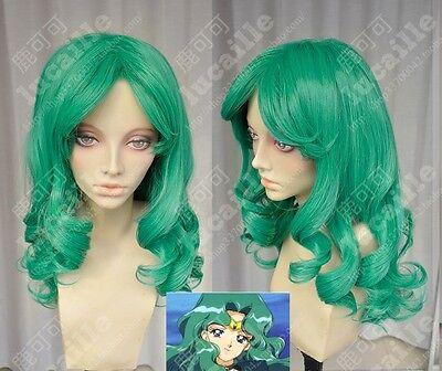 Sailor Moon Sailor Neptune Long Green Cosplay Party Wig Hair