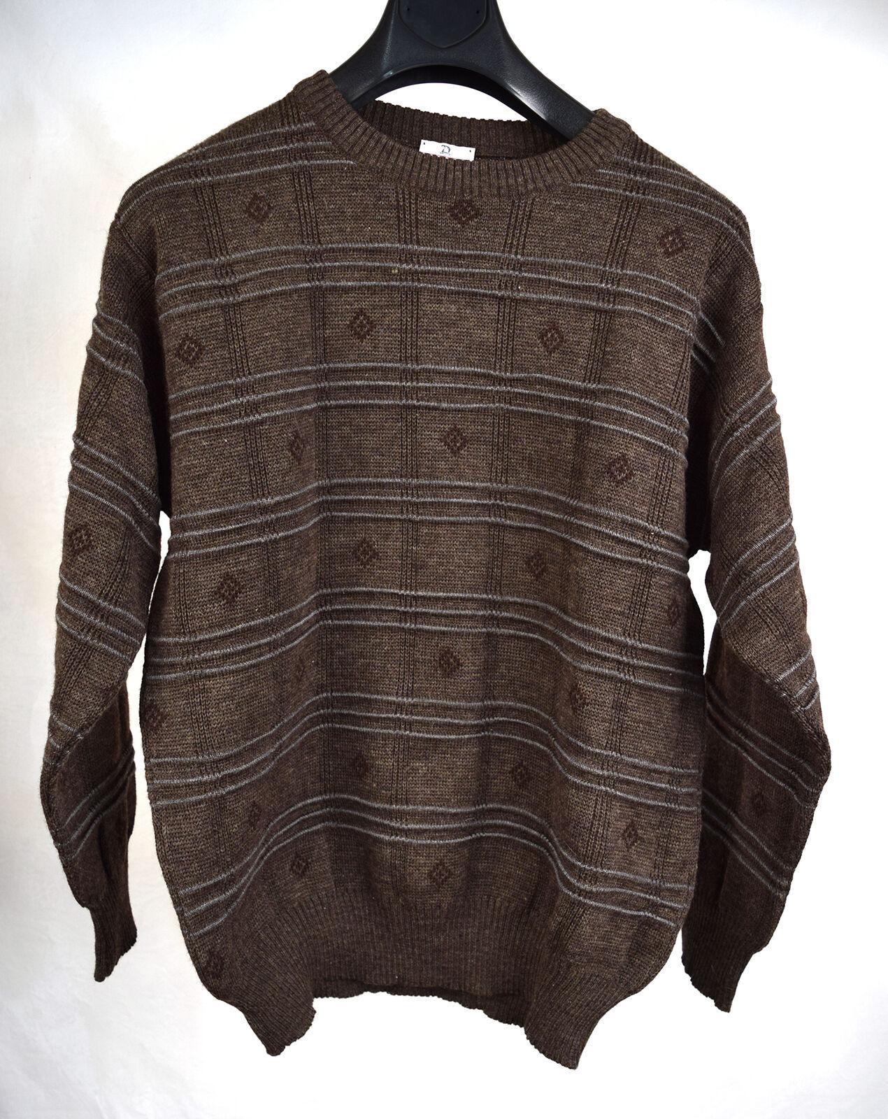 Neiman Marcus Sweater Brown 3D Knit Strip Geometric 100% Wool M Vintage