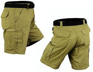 100-Cotton-men-Cargo-Combat-Shorts-Casual-Summer-pants-trousers-6-pockets-Belt