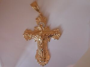 14K Gold plated Jumbo Cz Transition cross pendant lifet