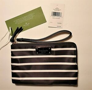 Kate-Spade-Wilson-Road-French-Striped-Nylon-Wristlet-Black-White-NWT