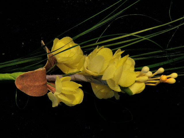 Vintage Millinery Flower + Leaf Yellow Green Grass Trim for Hat or Hair K28