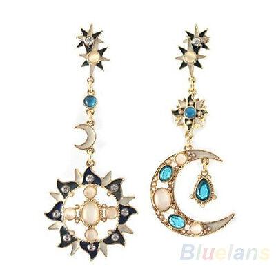 Great Star Sun Moon Crystal Rhinestone Stud Dangle Pretty Funky Earrings  F