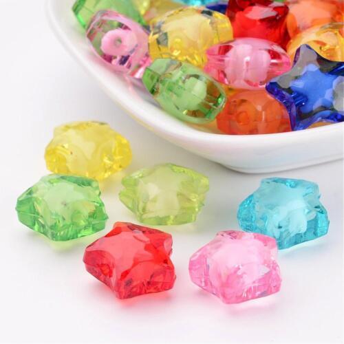 2199 20 Stück Stern Perlen gemischt basteln Perle  Acrylperlen