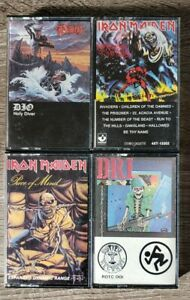 4-1980-039-s-Iron-Maiden-DIO-DRI-Dirty-Rotten-Imbeciles-Cassette-Metal-Tapes-Lot