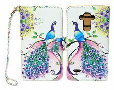 Purple & Pink Peacock Design Wallet Leather Case for LG G Stylo LS770 G4 Note