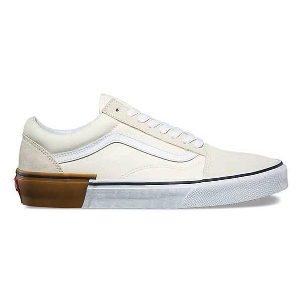 815e43114daf18   VANS Mens 10.5 Womens 12 Old Skool Gum Block Classic White Cream SNEAKERS  for sale online