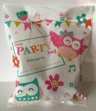 10 Owls & Flowers PARTY Loot TREAT Goodie Plastic Cello Bags Birthday GIRL Gift