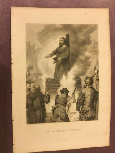 Antique Book Print William Sawtre's Execution 1875