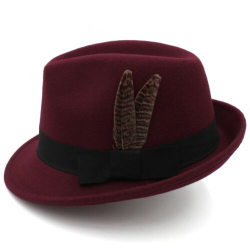 Men Women Wool Blend Trilby Hats Fedora Caps Jazz Sunhat Feather Band UK Size L