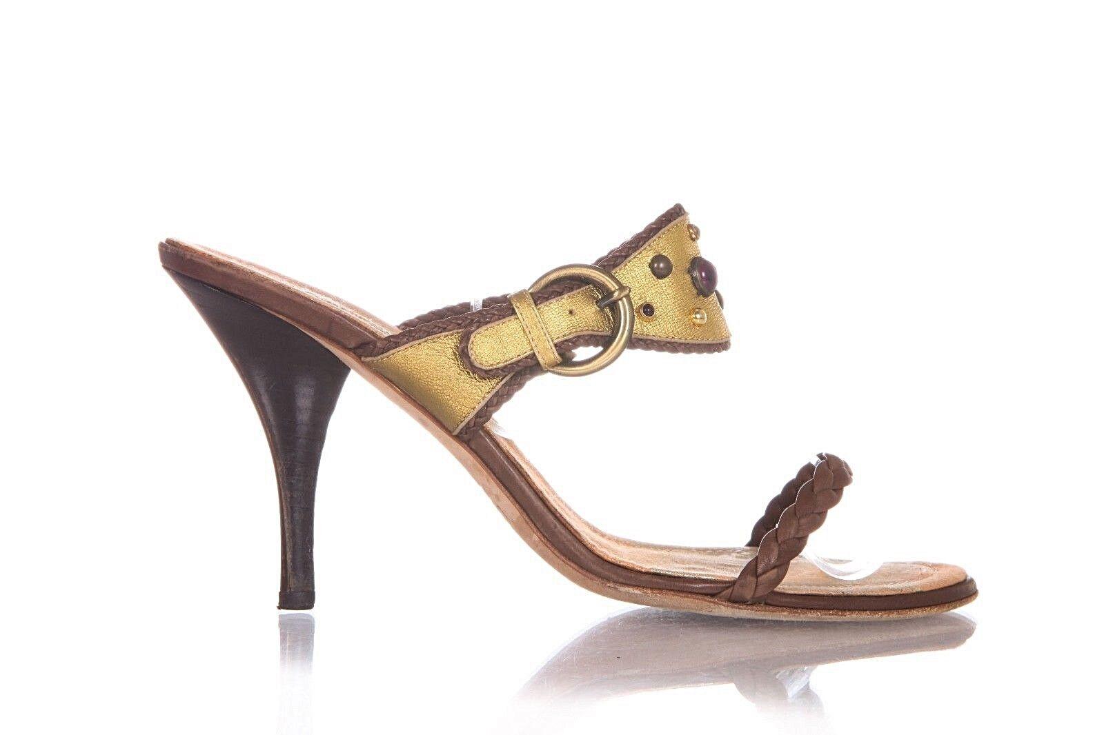 GIUSEPPE Heels Größe 9.5 9.5 9.5 Leather braun Jeweled Braided Strap Stiletto Sandals abdf39