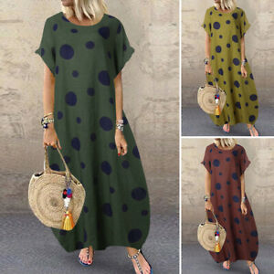 ZANZEA-Womens-Baggy-Short-Sleeve-Casual-Loose-Long-Dress-Polka-Dot-Maxi-Dresses