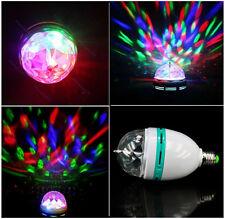 3W E27 RGB Crystal Magic Ball Rotating LED Stage Light Bulb Xmas Party DJ Lamp
