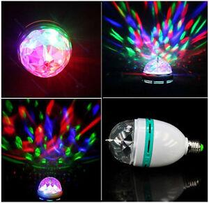 3W E27 RGB Crystal Magic Ball Rotating LED Stage Light Bulb Xmas Party DJ Lamp 5707478277914