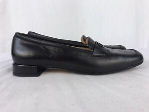 Salvatore Ferragamo Horse Bit Women's US 8.5 AA Black Leather Loafers Shoes C1