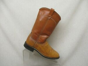 Acme Brown Leather Roper Western Cowboy Boots Youth Size 5.5 M Style 18004 USA