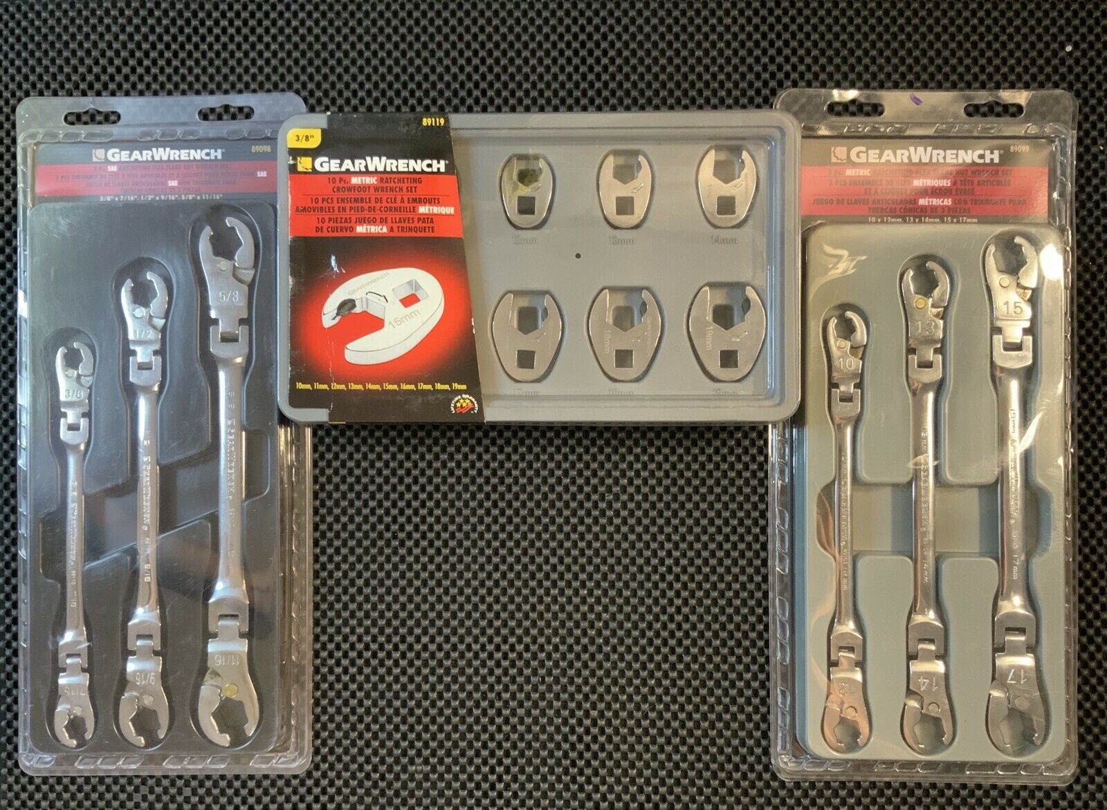 GearWrench Crowfoot Wrench Set + Flex Flare Ratcheting Wrench Set. Buy it now for 171.96