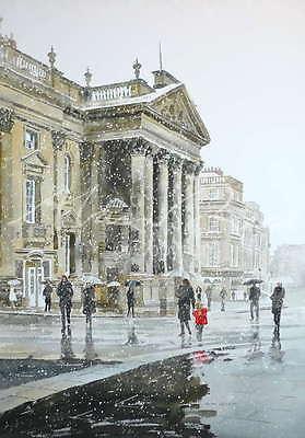 Alan Reed Aquarelle Originale Theatre Royal Dans La Neige Newcastle Peinture Ebay