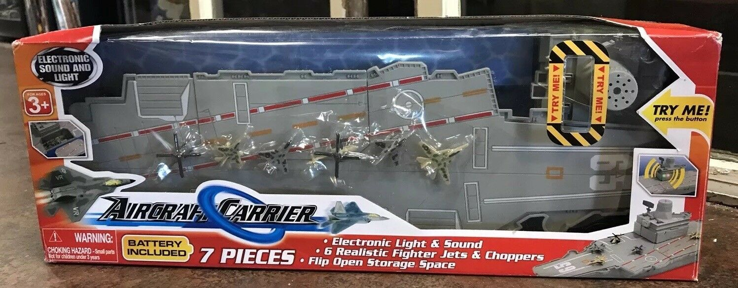 Air Craft Carrier Electronic Lights & Sounds Mini Military Airplanes Helicopters