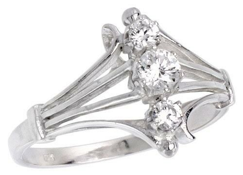"""925 Sterling Silver Rhombus Shaped Three Stone Lady/'s Fancy Ring 1//2/"""""""