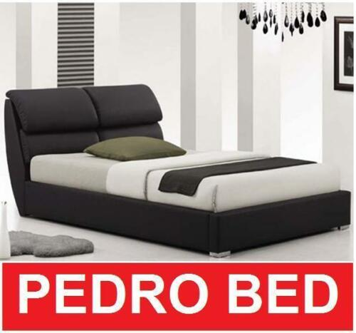 ITALIAN DESIGN PEDROS DOUBLE QUEEN KING SIZE BLACK PU LEATHER WOODEN BED FRAME