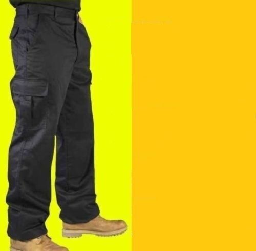 Mens Cargo Work Trousers Navy Blue or Black Size 28 to 52 Short , Reg or Long