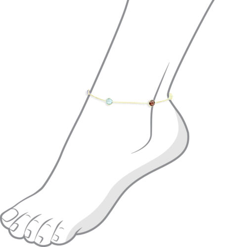 14K Yellow Gold Anklet Bracelet With Colorful Faceted Round Gemstones 10 Inches