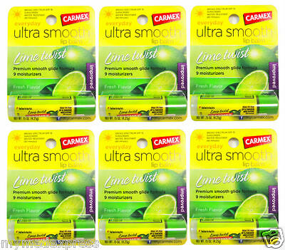 6 PACK Carmex Lip Balm SPF 15 Lime Twist 0.15oz 083078002183