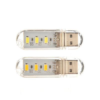 3LED Night Light Card Lamp Keychain White Pocket Mini USB Touch Switch Hot L Ih