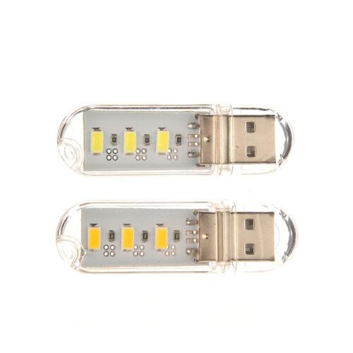 2x neue mini bewegliche 3 LED-Nachtlicht USB-Lampe für PC Laptop-Lesung 5730 ZP