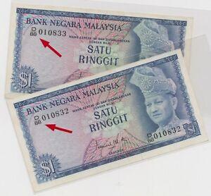 Mazuma *M1110 Malaysia 2nd $1 D/88 010832-833 Nice Prefix 2 Running AUNC-UNC