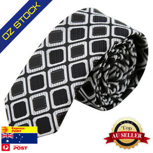 Black-White-Checkers-Young-Gift-Idea-Mens-Silk-Skinny-Tie-Epoint-PS1046
