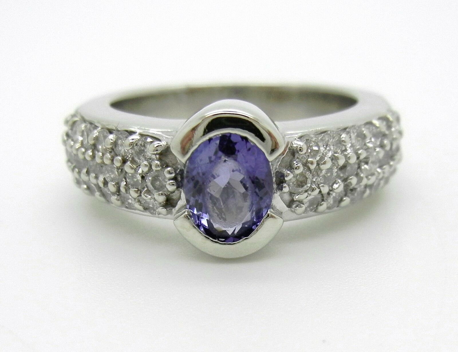 14K White gold 1CT Oval Purple Tanzanite And 3 4CTW Pave Diamond RingGorgeous