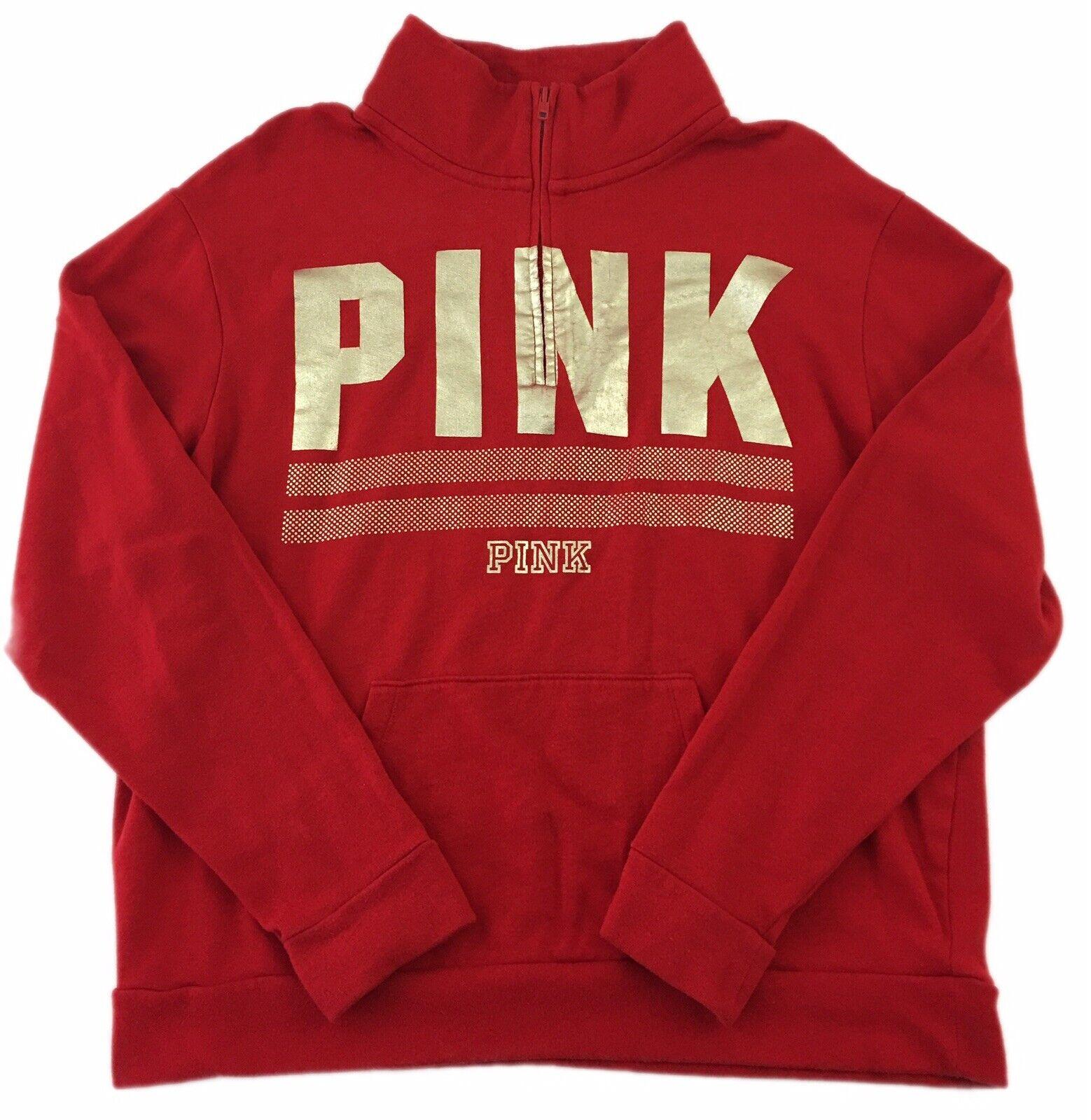 Victoria's Secret Sweatshirt Red gold 1 2 1 4 Zip Long Sleeve PINK Women's M
