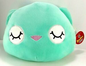 Squishy-Squishmallow-Green-White-Cat-Plush-Stuffed-Animal-Pillow-Dan-Dee-10-034-L