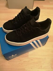 buy online 48a40 c9681 Details about Adidas Stan Smith Bold Black Leather Suede trainers Size Uk 5