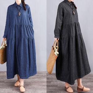 Oversize-Femme-Plisse-Frill-Poches-Manche-Longue-Chemise-Party-Jupe-Robe-Plus