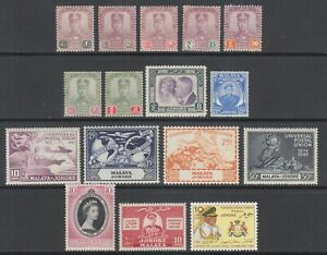 Malaya-Johore-Sc-101-157-MLH-1921-1960-issues-16-different-F-VF