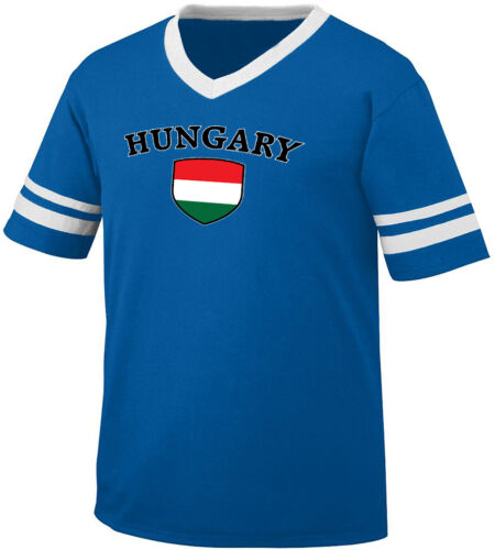 Hungary Flag Crest Hungarian National Country Pride Retro Ringer T-shirt