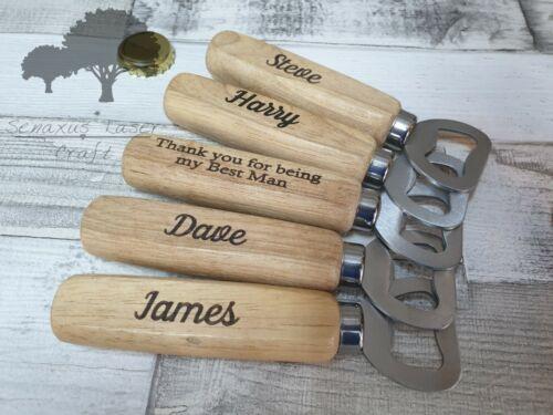 Personalised Engraved Wooden Bottle Opener Groom// Groomsman Best Man gift wbo3