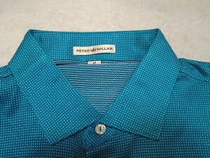 Peter-Millar-100-Cotton-Blue-with-Micro-Dot-Pattern-Polo-Shirt-NWT-Medium-98