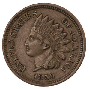 Raw-1859-Indian-Head-1C-Ungraded-US-Minted-Small-Cent-Coin