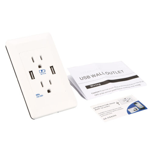 Dual USB Port Wall Socket Charger AC Power Receptacle Outlet Plate Panel USA
